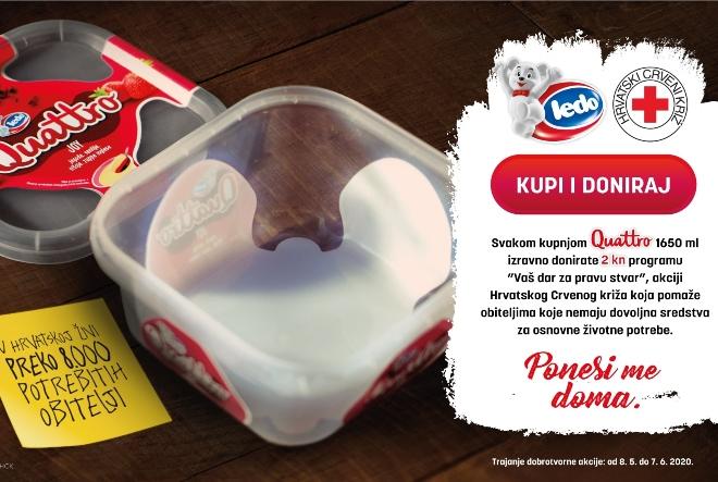 """Ledo Quattro od prodaje svakog Quattro sladoleda donira 2 kune humanitarnoj akciji Crvenog križa """"Vaš dar za pravu stvar"""""""