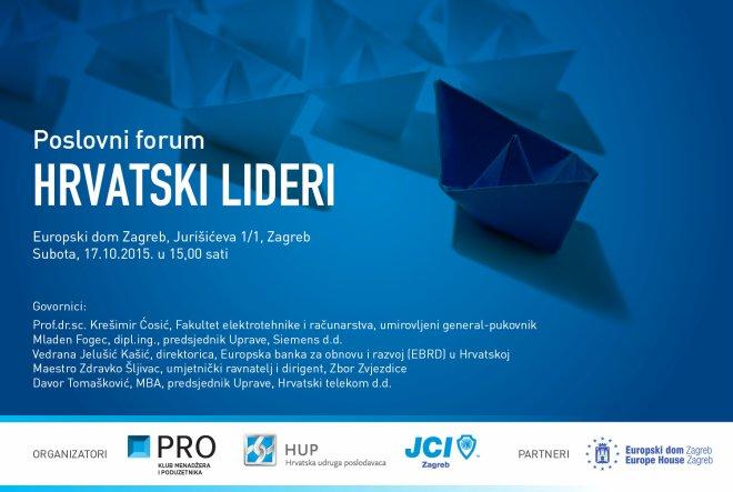 Junior Chamber International Zagreb i HUP-PRO Klub menadžera i poduzetnika najavljuju Poslovni forum: Hrvatski lideri