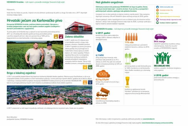 HEINEKEN Hrvatska predstavlja postignuća na području održivosti za 2017. godinu