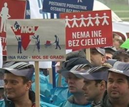 Sindikalni prosvjed radnika Ine protiv iznajmljivanja benzinskih postaja [VIDEO]
